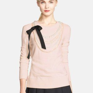 Kate Spade Maxine pink pearl wool cashmere sweater